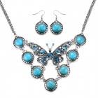 eQute BSSW3C99 Classic Turquoise Butterfly Necklace + Earrings Set for Women - Green + Blue