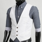 MUGE M9038 Men's Pure Color Vest - White (Size-XL)