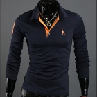 POLOT03 Slim Fit Men Long Sleeve Polo Shirt - Navy Blue (Size XL)