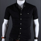 8609 Men's Slim Fit Short-Sleeve Shirt - Black (Size XL)