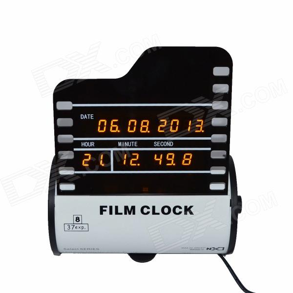 LED LED Film Digital Reloj w / Calendario - Blanco + Negro