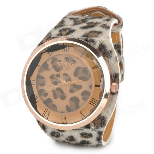 Women's Leopard Pattern Zinc Alloy Wool Band Quartz Analog Wrist Watch - Black + White + Rosy Golden