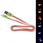Smile Face Flat USB 2.0 Male to Micro USB Male Data Sync / Charging Cable - Orange + Green