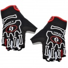 Spakct Outdoor Cycling Half-Finger Gloves - Black + White + Red (Size L / Pair)
