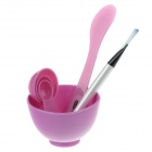 4-in-1 DIY Facial Mask Maker Set / Mixing Bowl + Stick + Brush + Measuring Spoons - Purple + White