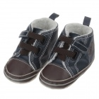 Cute Comfort Cotton + PU Baby Shoes - Blue + Brown (3~6 Month / Pair)