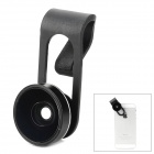 Clip-On ABS + Glass Fish Eye for Samsung / HTC / Iphone / Tablet PC - Black