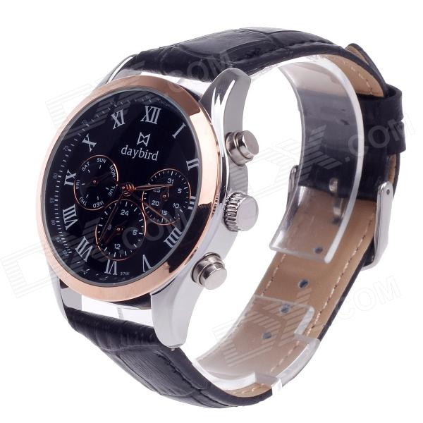 Daybird 3781 Stylish Artificial 3 Eyes + Roman Numerals Quartz Analog Wrist Watch for Men - Black paidu fashion men wrist watch casual round dial analog quartz watch roman number faux leatherl band trendy business clock