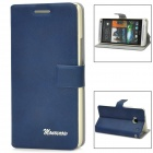 Stylish Flip-Open Plastic Stand Case w/ Card Slots for HTC M7 - Blue