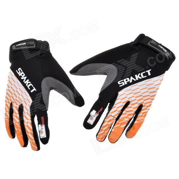 Spakct Outdoor Cycling Full-Finger Gloves - Orange + White + Black (Size L / Pair) spakct s13g10 bicycle cycling full finger gloves black white xl