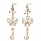 Retro Elegant Women's Butterfly Shape Earrings - Golden (Pair)