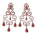 Elegant Gorgeous Zinc Alloy + Rhinestone Women's Earrings - Red + Pink (Pair)
