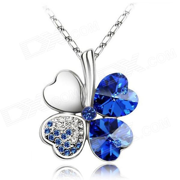 eQute PSWW124C7 Elegant Four-Leaf Clover Pendant Necklace - Deep Blue + Silver equte psiw3coot1 s925 sterling silver necklace cat s eye axe pendant chain white silver 16