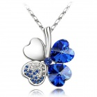 PSWW124C7 Elegant Four-Leaf Clover Pendant Necklace - Deep Blue + Silver
