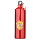 Spanish Flag Pattern Cycling Bike Aluminum Alloy Water Bottle w/ Carabiner - Red (750ml)