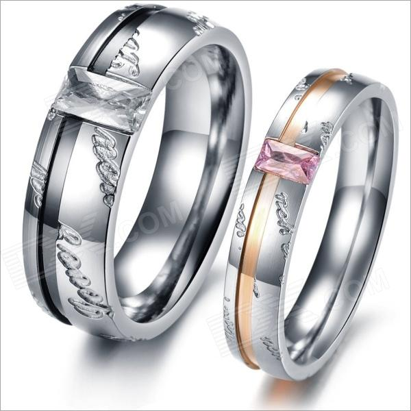 GJ327 Titanium Steel Rhinestone Couple's Rings - Black + Golden + Silver + Pink (US Size 9 + 7)