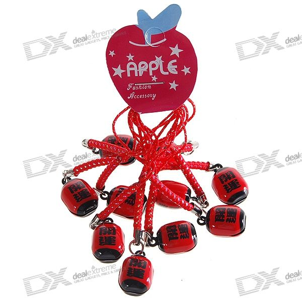 Lucky Small Bell Cell Phone Strap (10-Pack) charming cell phone straps with activity led 10 pack assorted