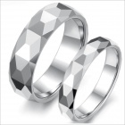 WJ172 Prismatic Multi-Layers Tungsten Steel Couple's Rings - Silver (Men 9 / Women 7 / Pair)