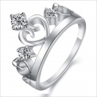 DJ922 Platinum Plating Women's Crown Rhinestone Ring - Silver (US Size 7)