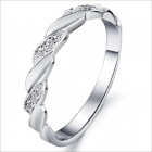 DJ911 Platinum Plating Men's Rhinestone Ring - Silver (US Size 8)