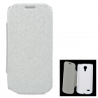 Protective PU Leather + ABS Case w/ Sleep Function for Samsung Galaxy S4 Mini - Silver + White