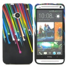 Stars Pattern Protective Soft Silicone Back Case for HTC One M7 - Multicolored
