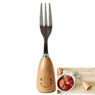 Cute Smiling Face Style Stainless Steel Fork - Light Brown