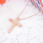 KCCHSTAR High-Quality 18K Gold Plating Cross Rhinestone Pendant Necklace for Women - Golden