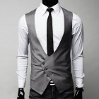 MUGE 0145 Fashionable Men's Suits Vest - Grey (Size-XL)