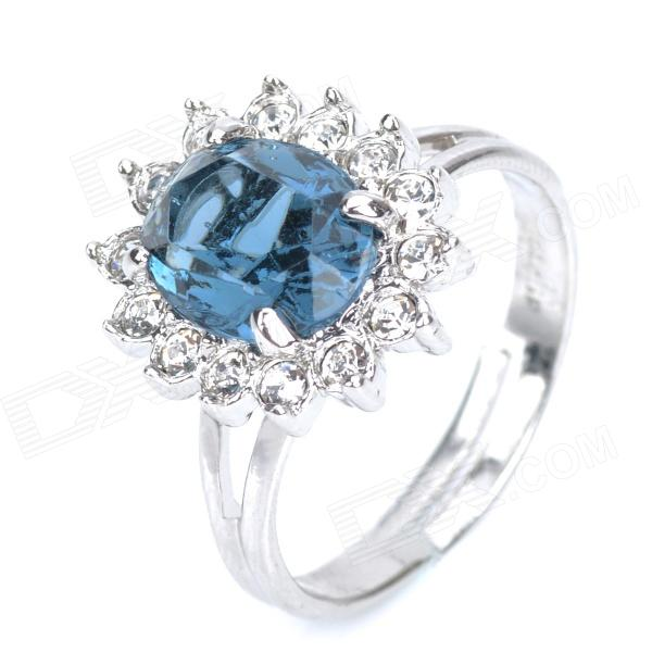 KCCHSTAR 18K Gold Plating High Quality Big Crystal Ring com strass - Royalblue