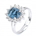 KCCHSTAR 18K Gold Plating High Quality Big Crystal Ring w/ Rhinestone - Royalblue