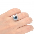 KCCHSTAR 18K Gold Plating Высокое качество Big Crystal Ring ж / Rhinestone - Royalblue