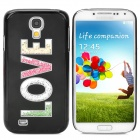 """LOVE"" Pattern Stylish Plastic Back Case for Samsung Galaxy S4 - Black"
