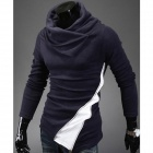 Stylish Stitching Zipper Men's Sweater - Deep Blue (Size-XL)