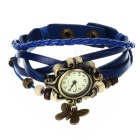 Fashionable Retro Style PU leather Band Women's Quartz Analog Wrist Watch - Blue + Bronze (1 x 626)