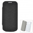 Protective PU Leather + ABS Case w/ Sleep Function for Samsung Galaxy S4 Mini - Black + White