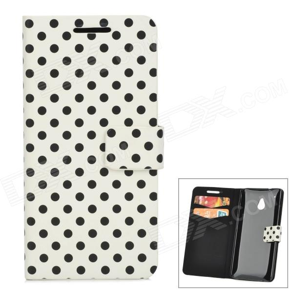 Polka Dot Style Protective PU Leather Case for HTC One M4 - White + Black matte protective pe back case for htc one x s720e white