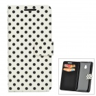 Polka Dot Style Protective PU Leather Case for HTC One M4 - White + Black