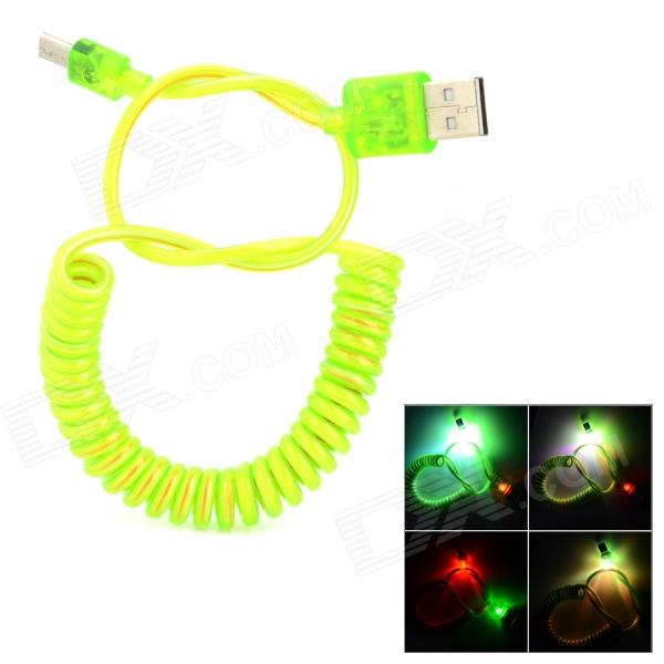 USB to Micro USB Charging Data Spring Cable w/ 2-LED RGB Light for Samsung / HTC - Green (1.2m) usb to micro usb charging spring cable for samsung htc green white