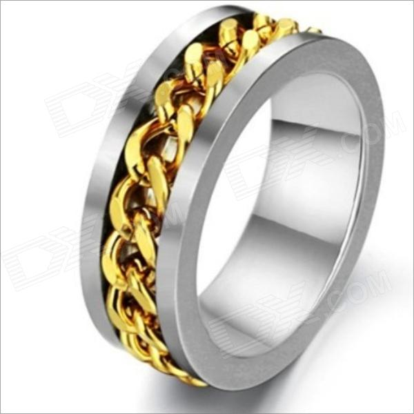GJ317 Fashionable Steel Chain Rotation Men's Titanium Ring - Golden + Silver (US Size 9)