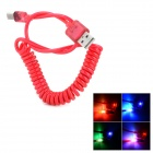 USB Male to Micro USB Male Data Charging Spring Cable w/ 2-LED RGB Light for Samsung S3 / S4 - Red