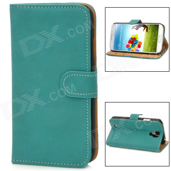 Stylish Flip-Open PU Leather Stand Case w/ Card Slots for Samsung Galaxy S4 / i9500 - Dark Cyan solid color litchi pattern wallet style front buckle flip pu leather case with card slots for doogee x10