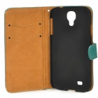 Stylish Flip-Open PU Leather Stand Case w/ Card Slots for Samsung Galaxy S4 / i9500 - Dark Cyan