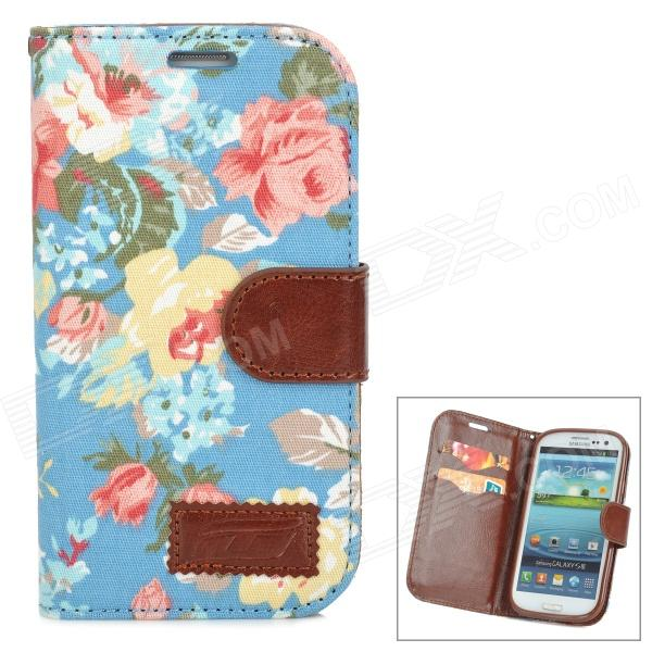 цены Flower Style Protective PU Leather + Fabric Case for Samsung i9300 - Blue + Pink