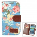 Flower Style Protective PU Leather + Fabric Case for Samsung i9300 - Blue + Pink