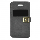 Stylish Protective PU Leather Case w/ Display Window for Iphone 4 / 4S - Black + Golden