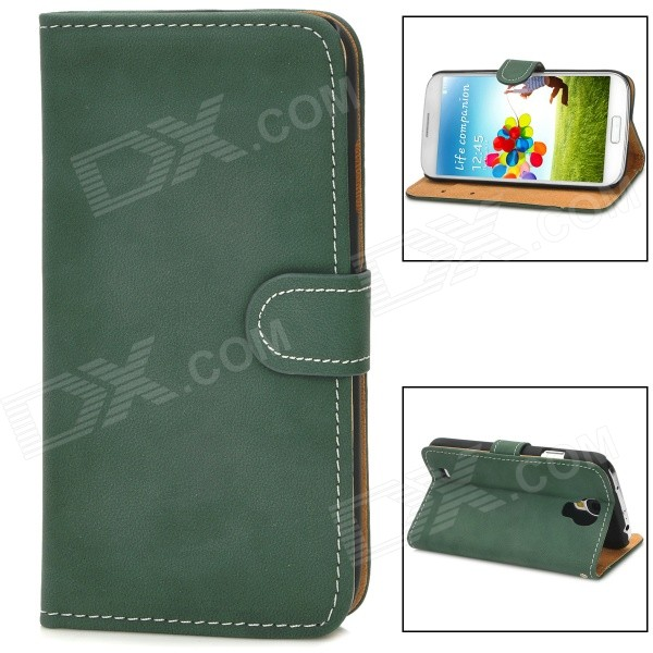 Stylish Flip-Open PU Leather Stand Case w/ Card Slots for Samsung Galaxy S4 / i9500 - Dark Green 360 rotary flip open pu case w stand for 10 5 samsung galaxy tab s t805 white