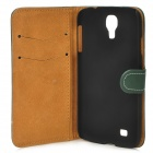 Stylish Flip-Open PU Leather Stand Case w/ Card Slots for Samsung Galaxy S4 / i9500 - Dark Green