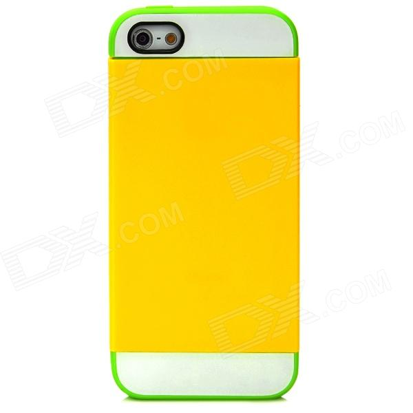 NX CASE Detachable Silicone Back Case for Iphone 5 - Yellow + Green cute marshmallow style silicone back case for iphone 5 5s yellow white