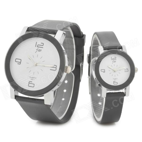 Casual Couple's Quartz Analog Wrist Watches - Black + White (1 x 377 / 2 PCS)